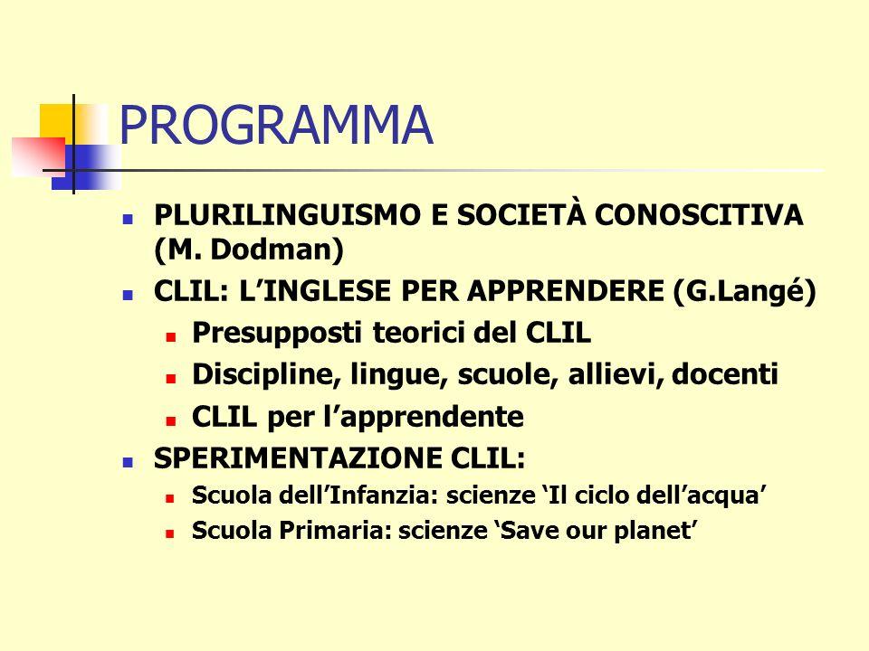 PROGRAMMA PLURILINGUISMO E SOCIETÀ CONOSCITIVA (M. Dodman)