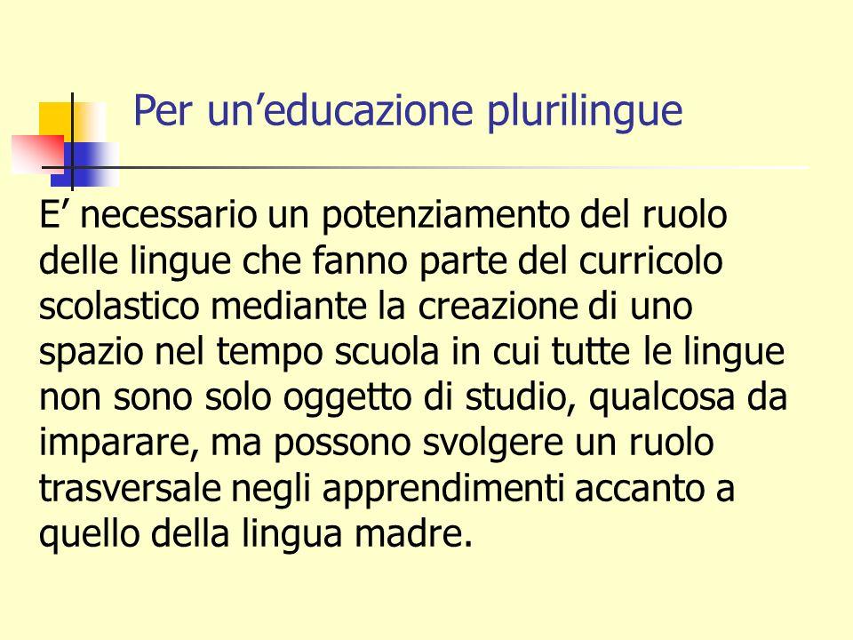 Per un'educazione plurilingue