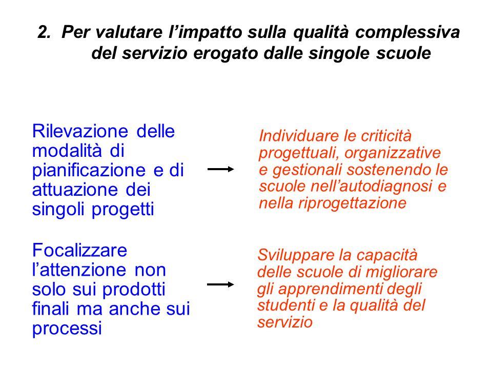 2. Per valutare l'impatto sulla qualità complessiva del servizio erogato dalle singole scuole