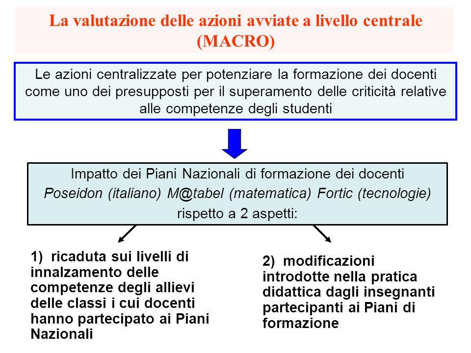 La valutazione delle azioni avviate a livello centrale (MACRO)