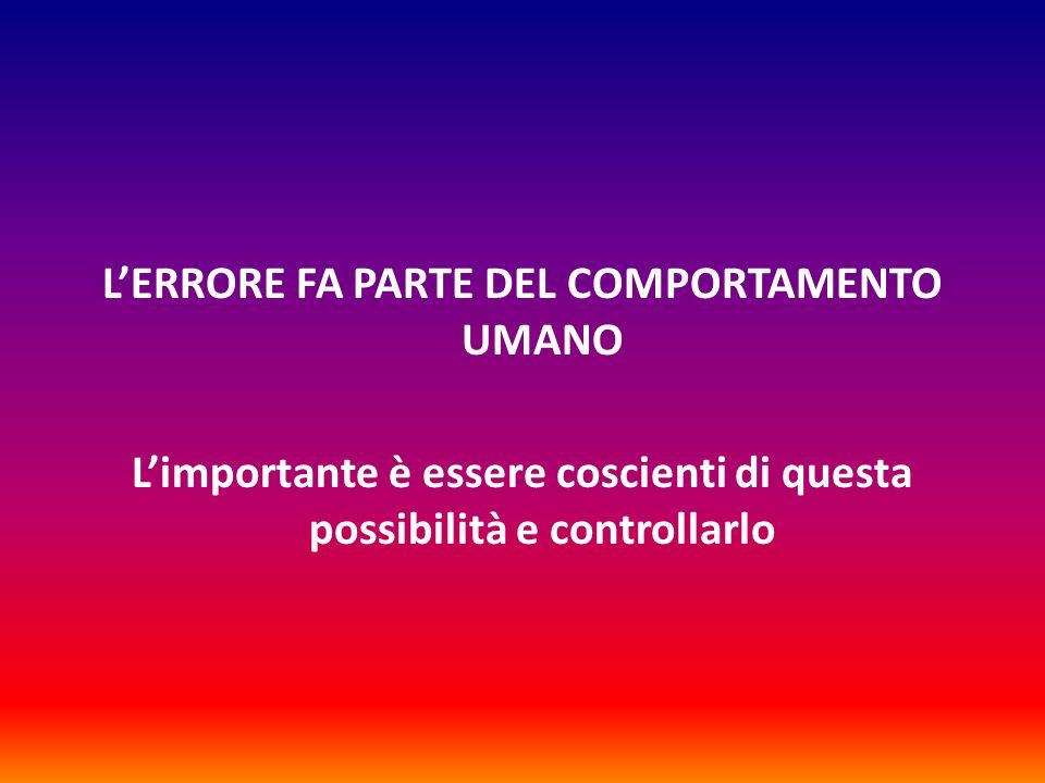 L'ERRORE FA PARTE DEL COMPORTAMENTO UMANO