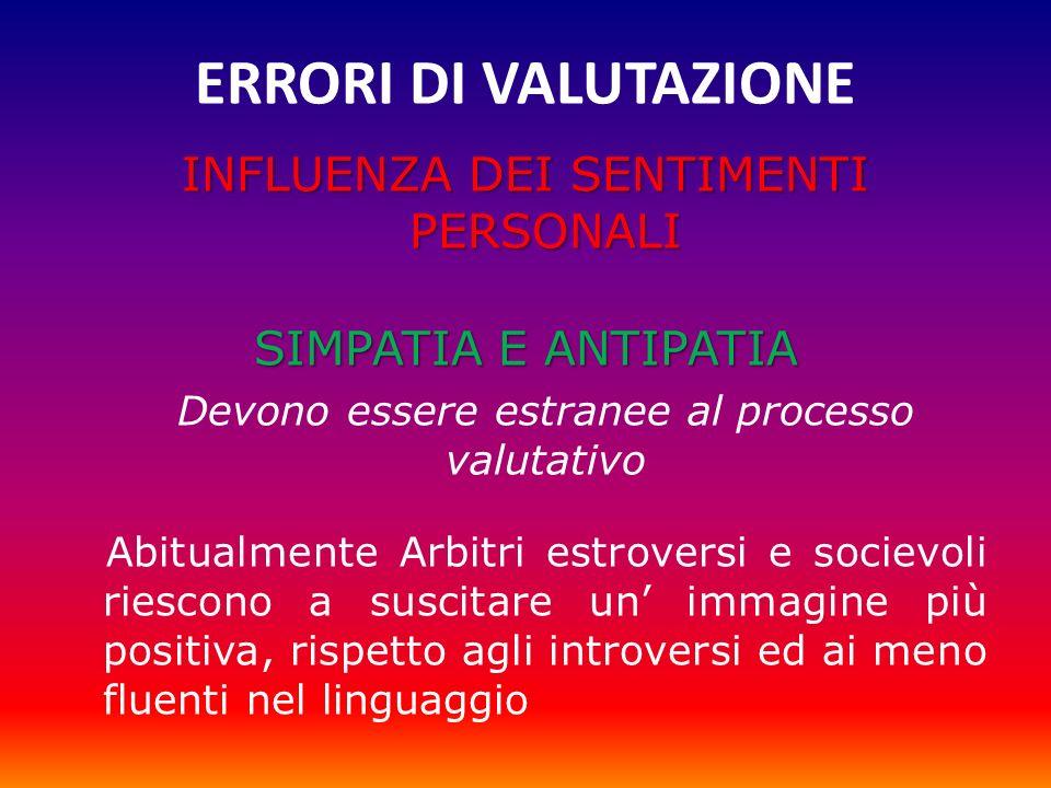 ERRORI DI VALUTAZIONE INFLUENZA DEI SENTIMENTI PERSONALI