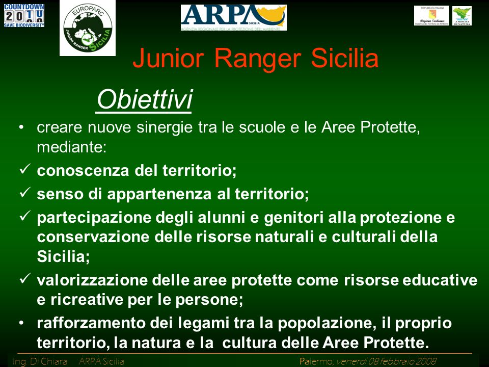 Junior Ranger Sicilia Obiettivi