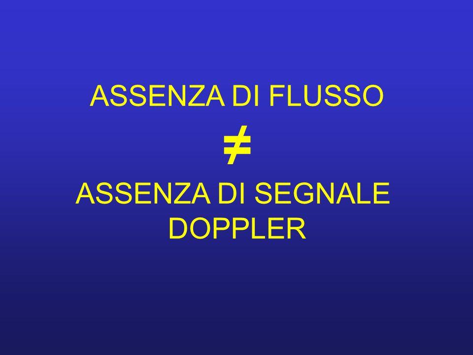 ASSENZA DI FLUSSO ≠ ASSENZA DI SEGNALE DOPPLER
