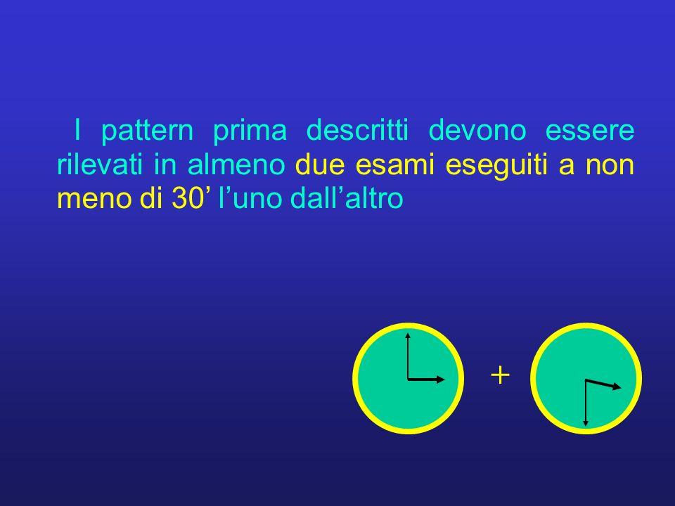 I pattern prima descritti devono essere rilevati in almeno due esami eseguiti a non meno di 30' l'uno dall'altro