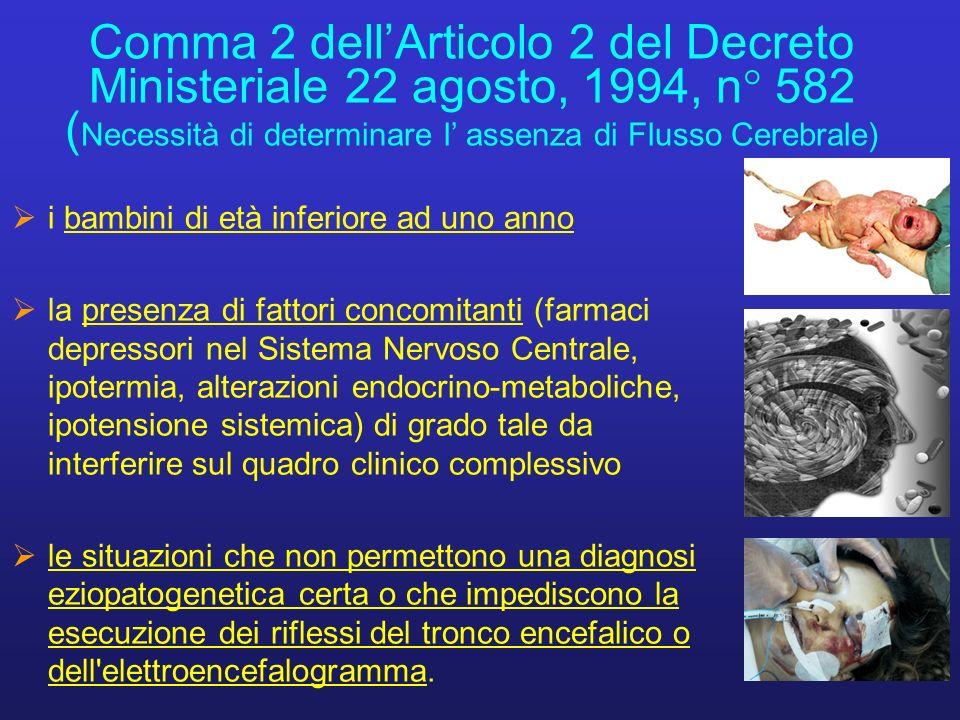 Comma 2 dell'Articolo 2 del Decreto Ministeriale 22 agosto, 1994, n° 582 (Necessità di determinare l' assenza di Flusso Cerebrale)