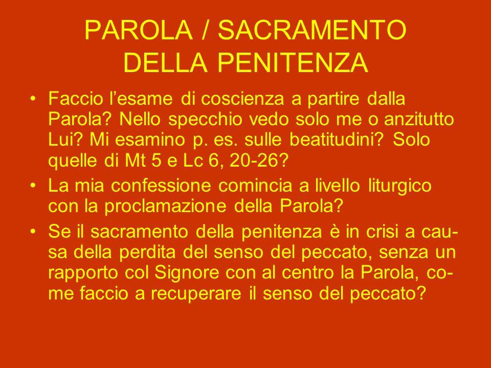 PAROLA / SACRAMENTO DELLA PENITENZA