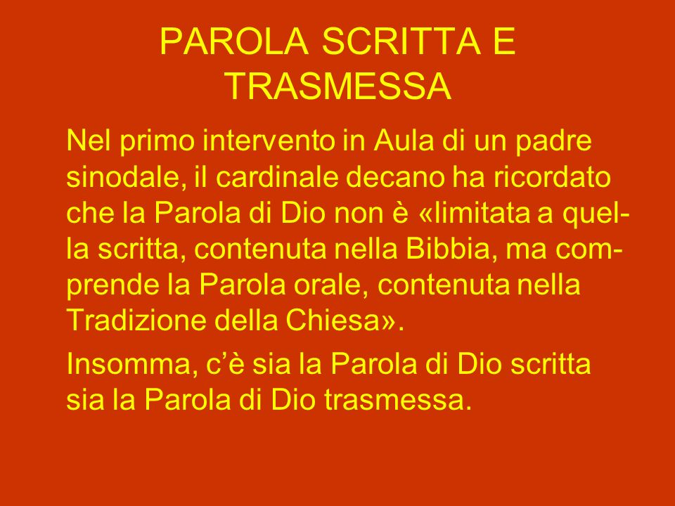 PAROLA SCRITTA E TRASMESSA