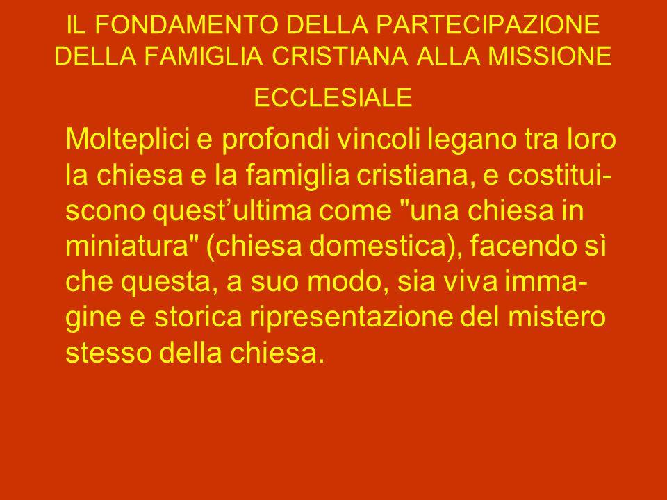 IL FONDAMENTO DELLA PARTECIPAZIONE DELLA FAMIGLIA CRISTIANA ALLA MISSIONE ECCLESIALE