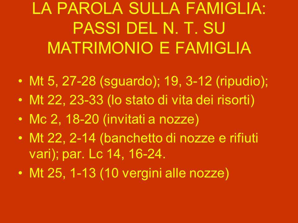 LA PAROLA SULLA FAMIGLIA: PASSI DEL N. T. SU MATRIMONIO E FAMIGLIA