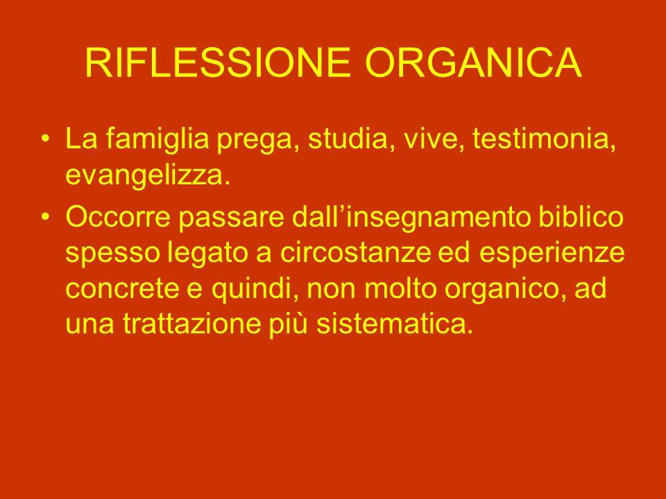 RIFLESSIONE ORGANICA La famiglia prega, studia, vive, testimonia, evangelizza.