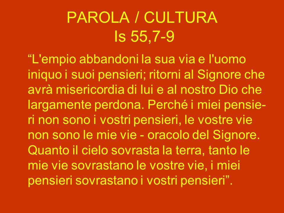 PAROLA / CULTURA Is 55,7-9