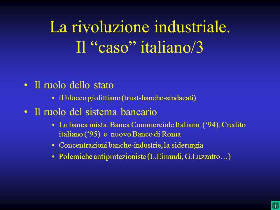 La rivoluzione industriale. Il caso italiano/3