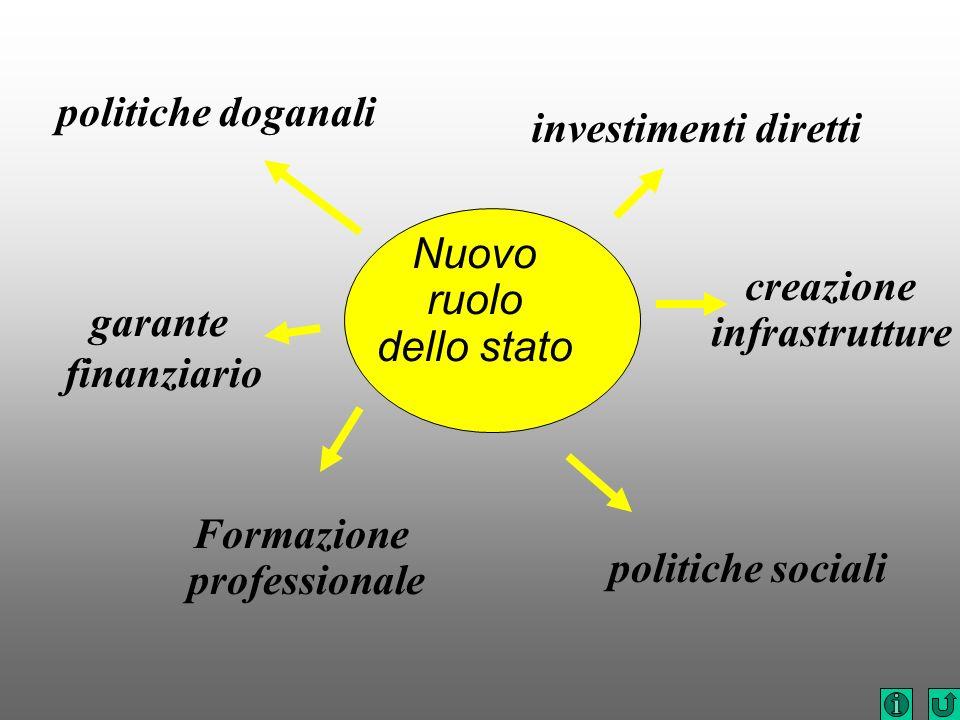 politiche doganaliinvestimenti diretti. Nuovo. ruolo. dello stato. creazione. infrastrutture. garante.