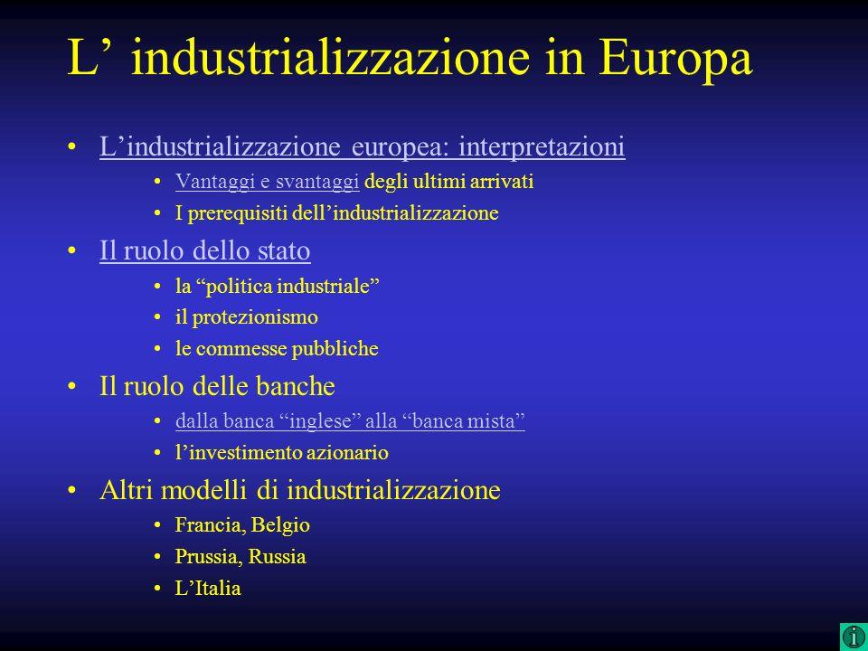 L' industrializzazione in Europa