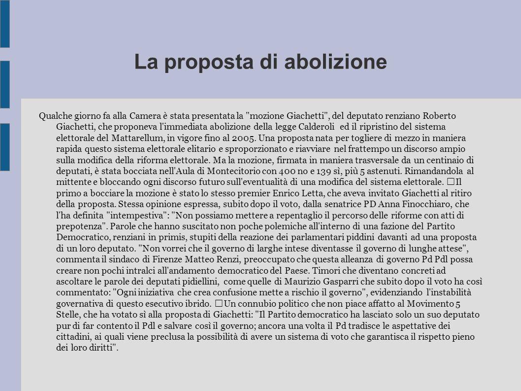 La proposta di abolizione