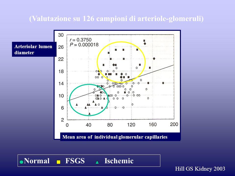 (Valutazione su 126 campioni di arteriole-glomeruli)