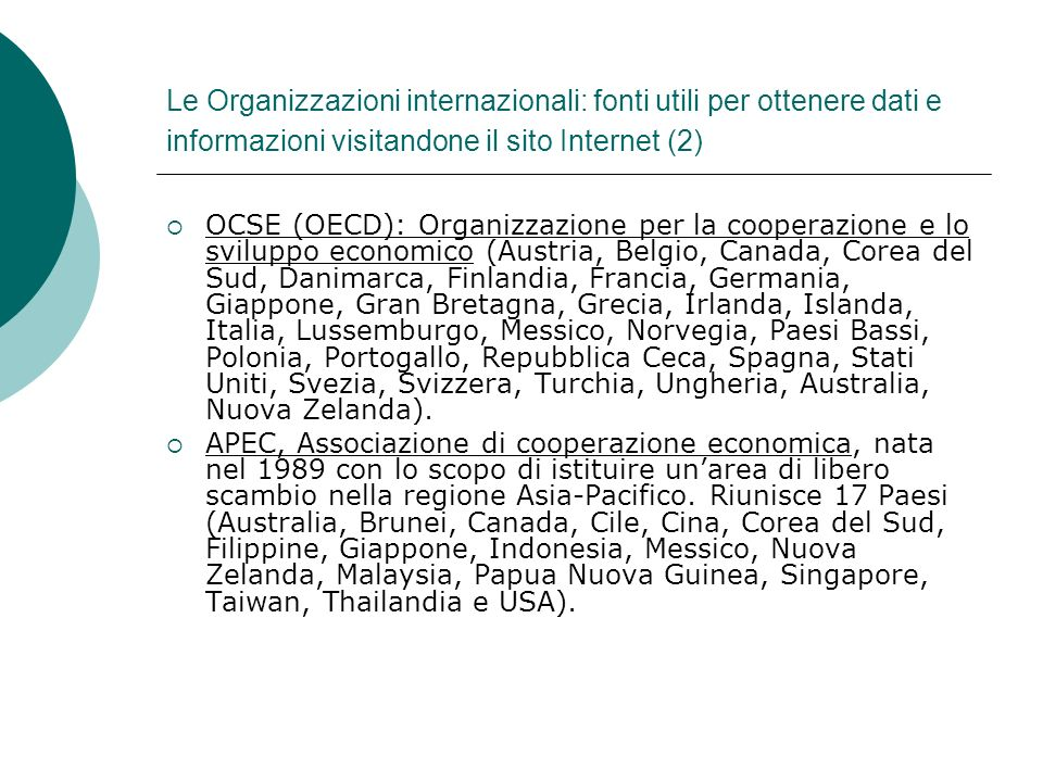 Le Organizzazioni internazionali: fonti utili per ottenere dati e informazioni visitandone il sito Internet (2)