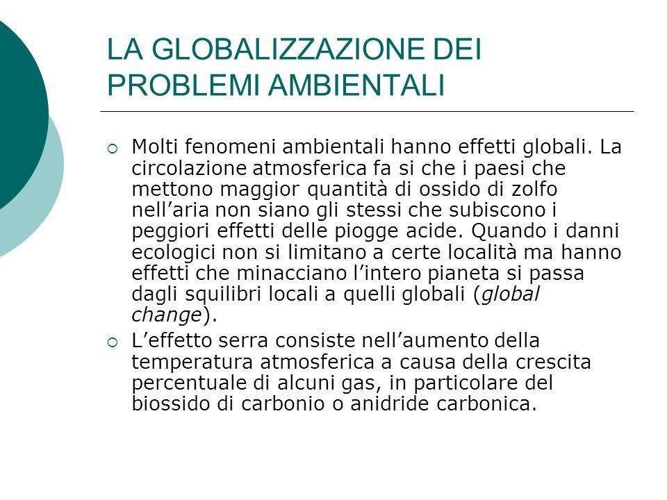 LA GLOBALIZZAZIONE DEI PROBLEMI AMBIENTALI