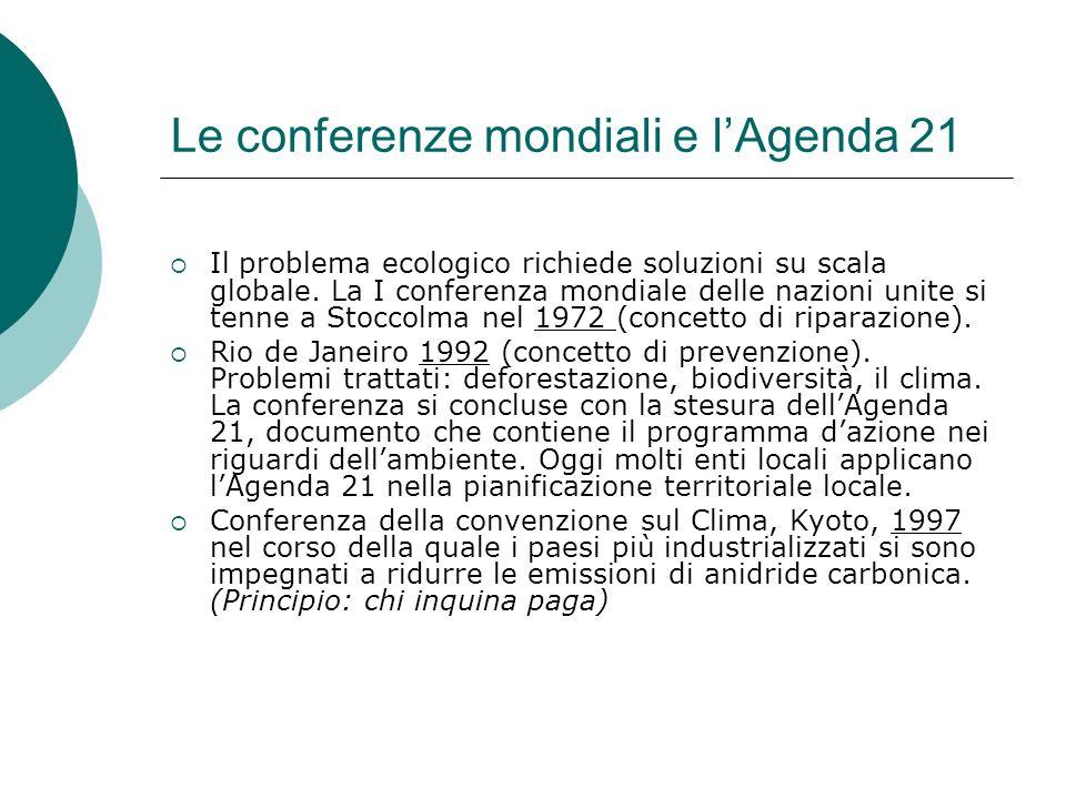 Le conferenze mondiali e l'Agenda 21
