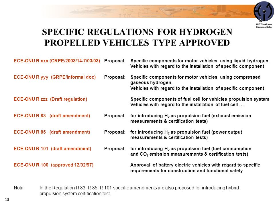 SPECIFIC REGULATIONS FOR HYDROGEN PROPELLED VEHICLES TYPE APPROVED