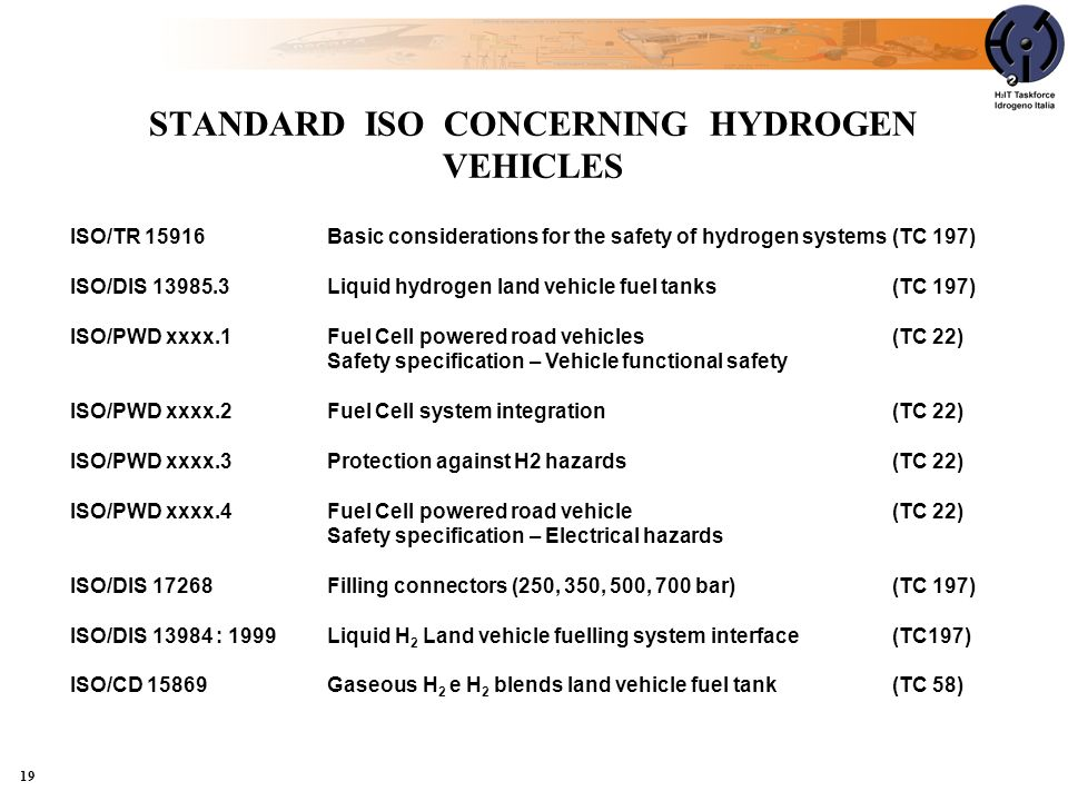 STANDARD ISO CONCERNING HYDROGEN VEHICLES