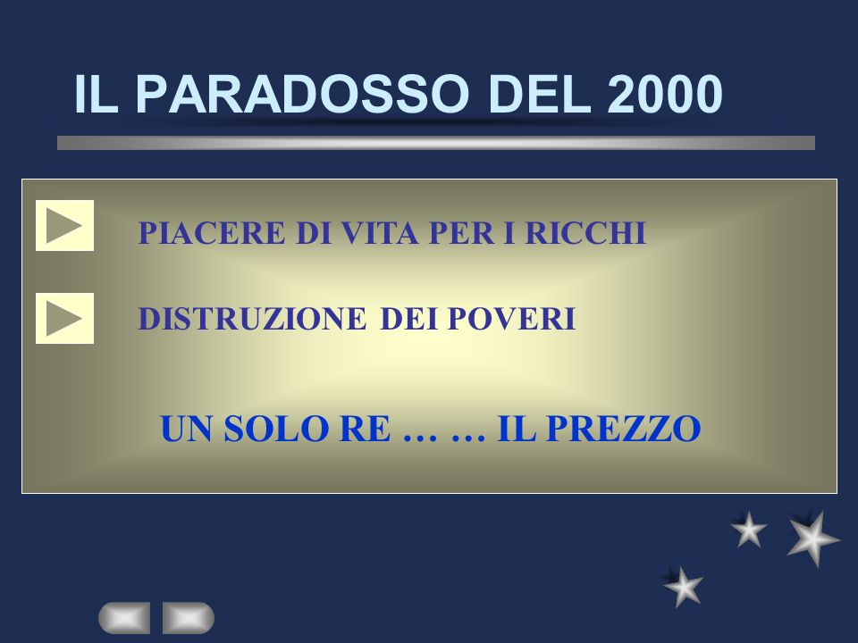 IL PARADOSSO DEL 2000 UN SOLO RE … … IL PREZZO