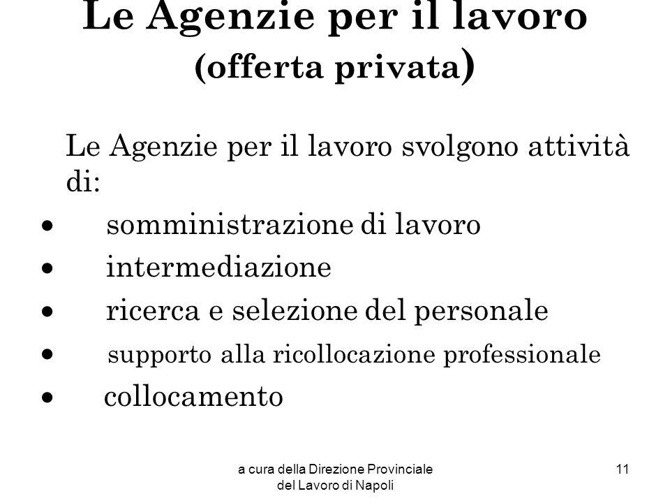 Le Agenzie per il lavoro (offerta privata)