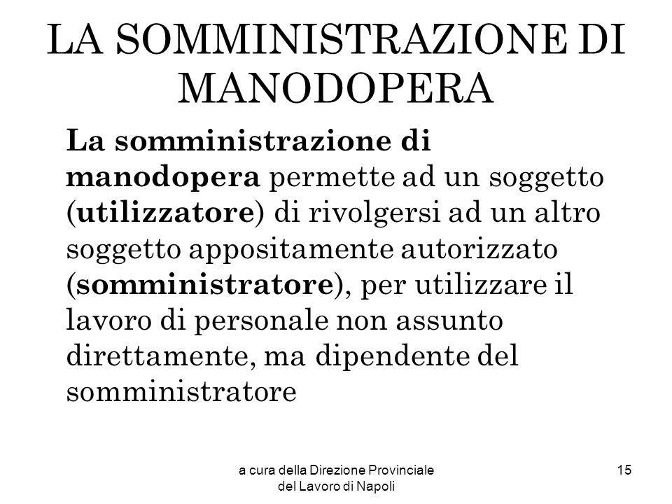 LA SOMMINISTRAZIONE DI MANODOPERA
