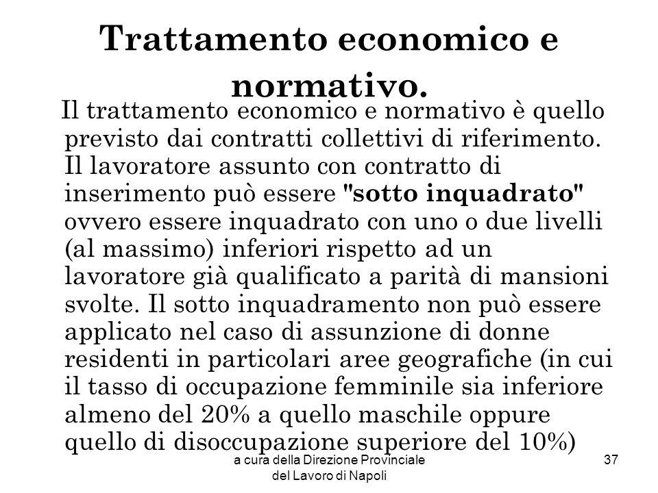 Trattamento economico e normativo.