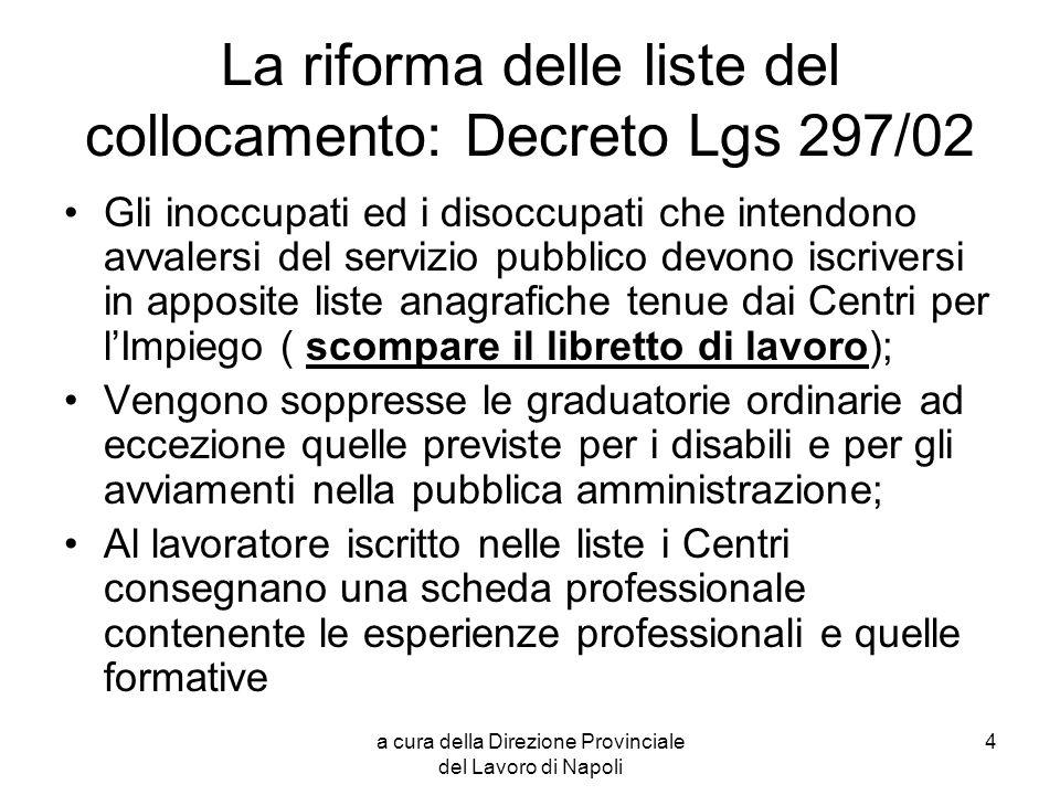 La riforma delle liste del collocamento: Decreto Lgs 297/02