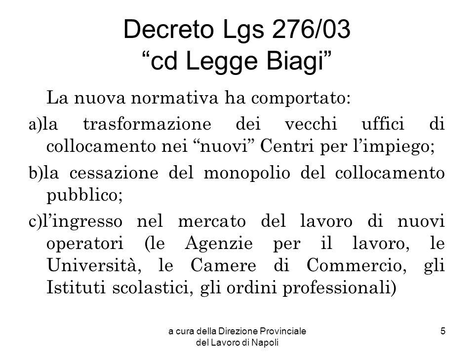 Decreto Lgs 276/03 cd Legge Biagi