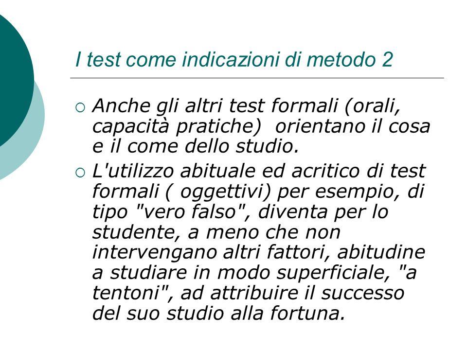 I test come indicazioni di metodo 2