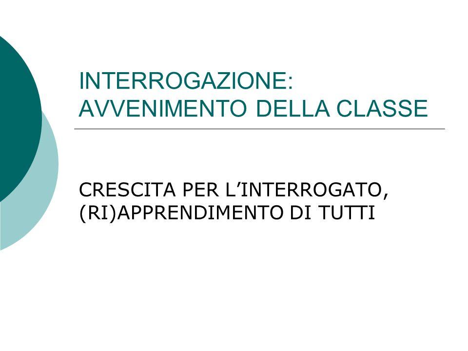 INTERROGAZIONE: AVVENIMENTO DELLA CLASSE