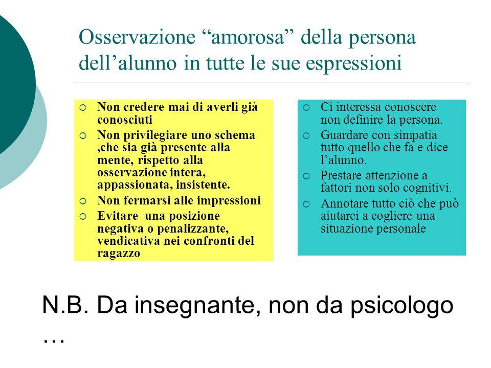 N.B. Da insegnante, non da psicologo …
