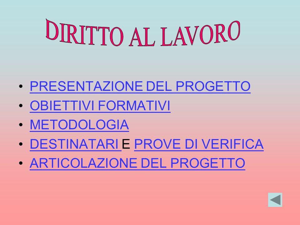 DIRITTO AL LAVORO PRESENTAZIONE DEL PROGETTO OBIETTIVI FORMATIVI