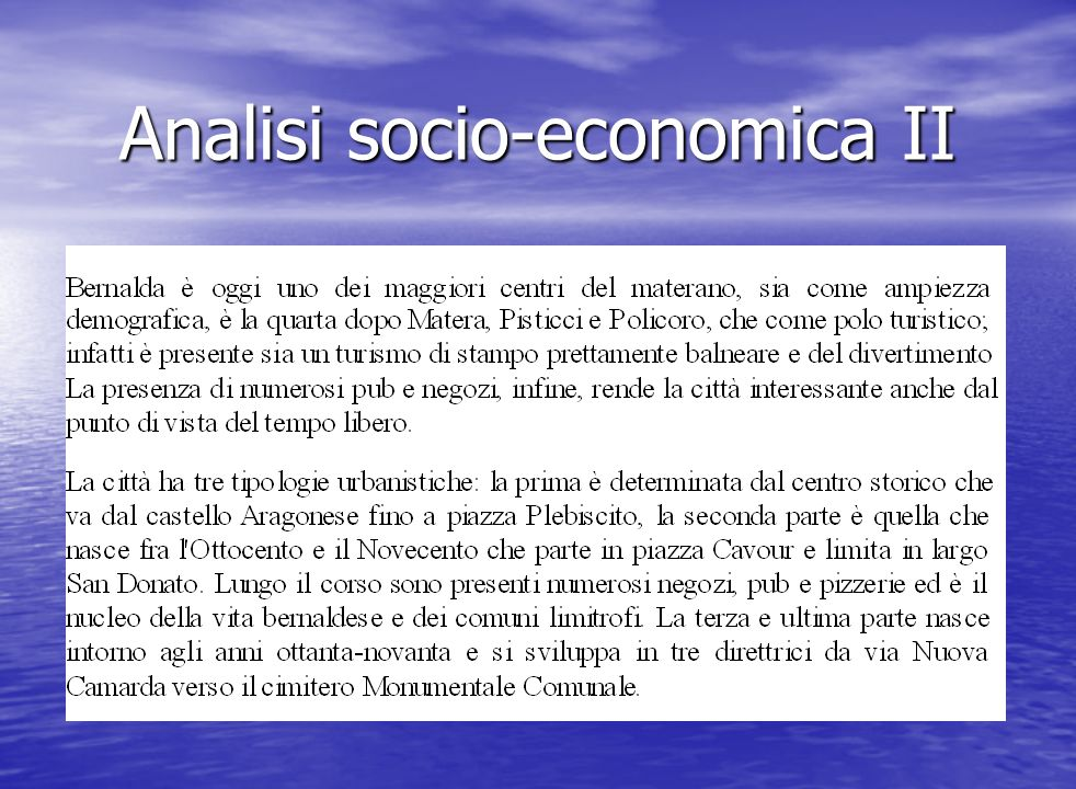 Analisi socio-economica II