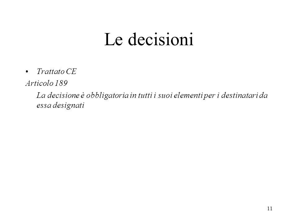 Le decisioni Trattato CE Articolo 189