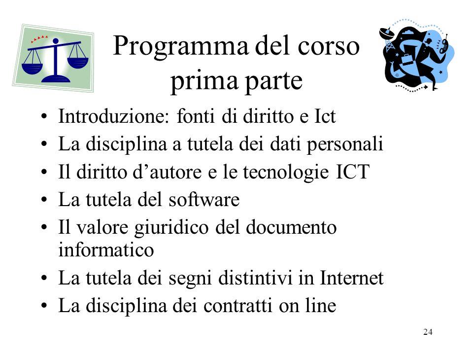 Programma del corso prima parte