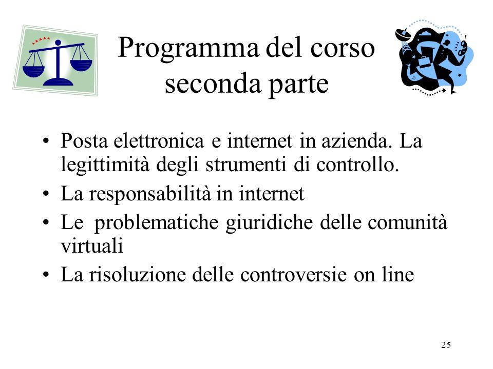 Programma del corso seconda parte
