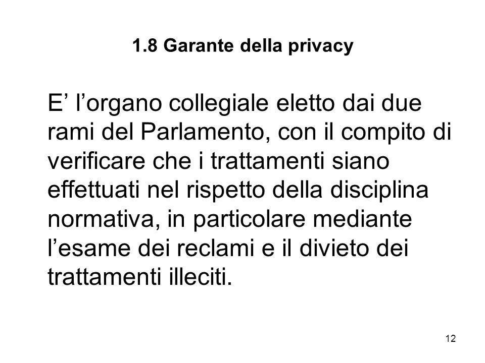 1.8 Garante della privacy