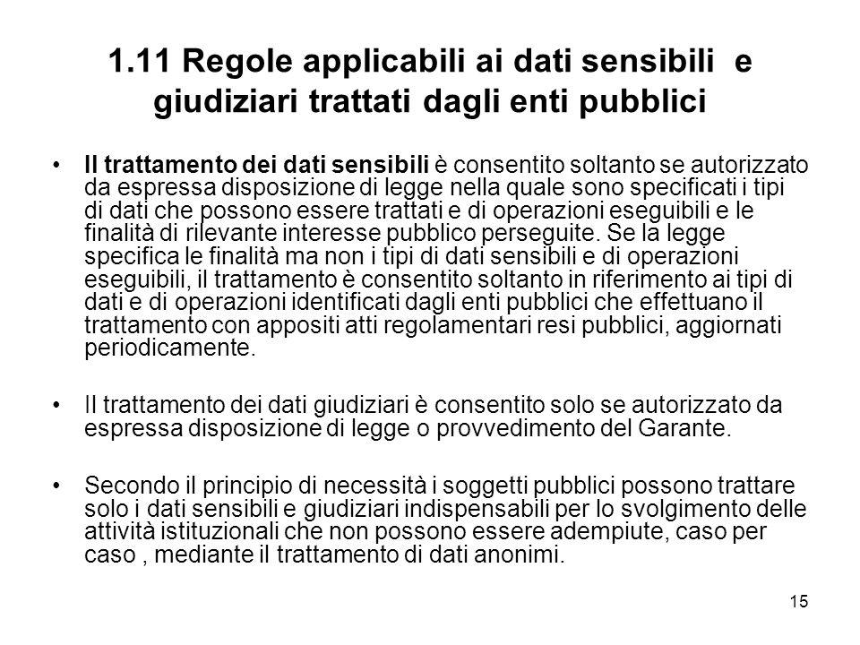 1.11 Regole applicabili ai dati sensibili e giudiziari trattati dagli enti pubblici