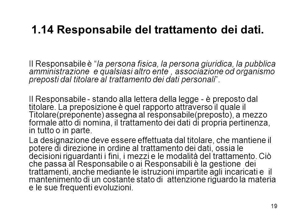 1.14 Responsabile del trattamento dei dati.