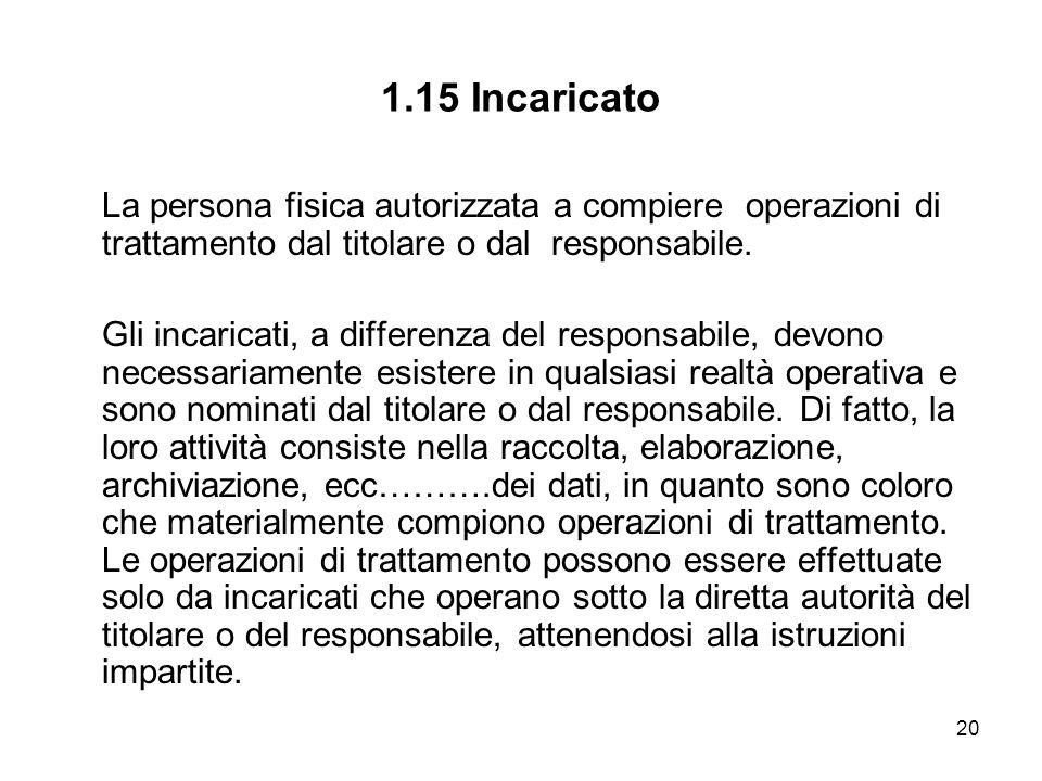 1.15 Incaricato La persona fisica autorizzata a compiere operazioni di trattamento dal titolare o dal responsabile.