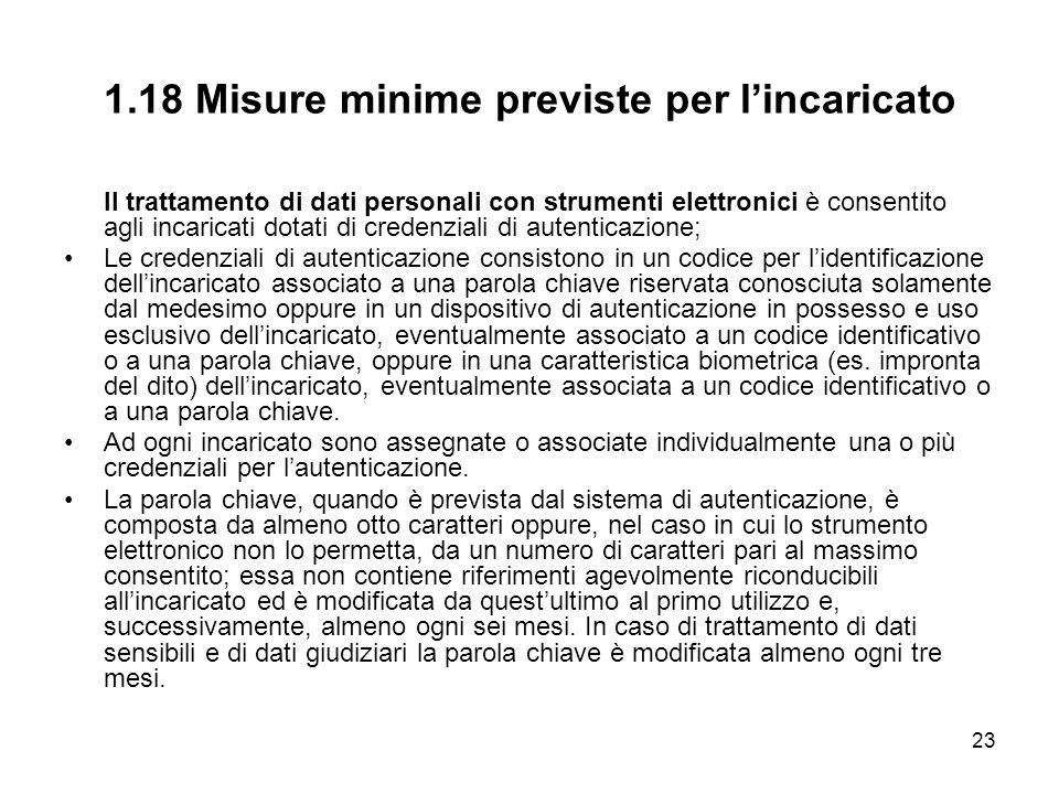 1.18 Misure minime previste per l'incaricato