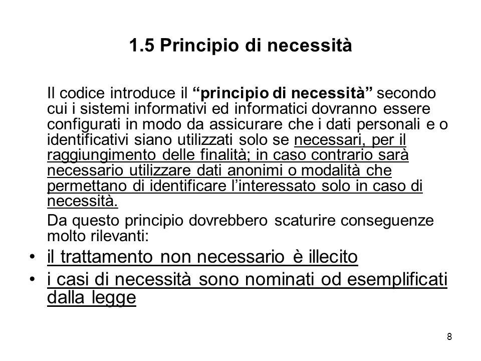 1.5 Principio di necessità