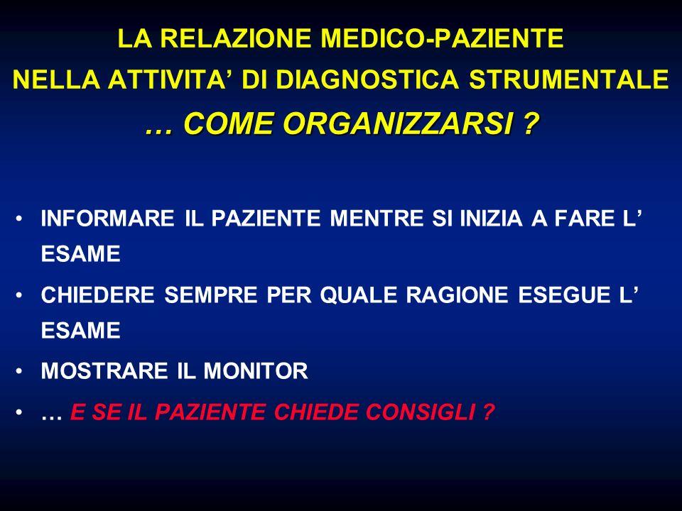 LA RELAZIONE MEDICO-PAZIENTE NELLA ATTIVITA' DI DIAGNOSTICA STRUMENTALE … COME ORGANIZZARSI