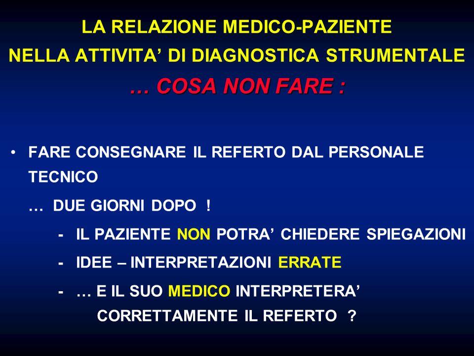 LA RELAZIONE MEDICO-PAZIENTE NELLA ATTIVITA' DI DIAGNOSTICA STRUMENTALE … COSA NON FARE :
