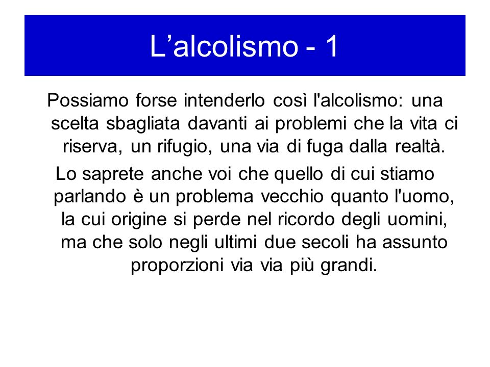L'alcolismo - 1