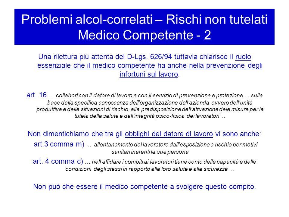 Problemi alcol-correlati – Rischi non tutelati Medico Competente - 2